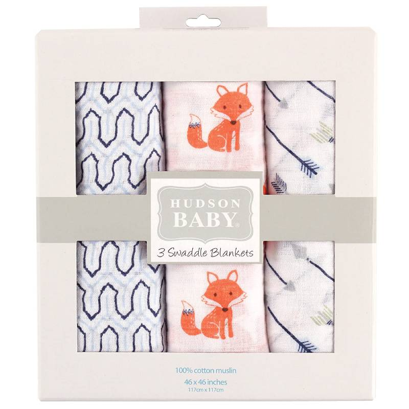 Hudson Baby Unisex Baby Cotton Muslin Swaddle Blankets, Foxes
