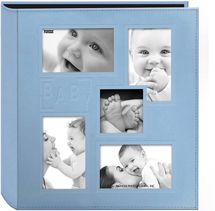 Pioneer Collage Frame Embossed Baby Sewn Leatherette Cover Photo Album, 4x6, 240 Photos, Baby Blue