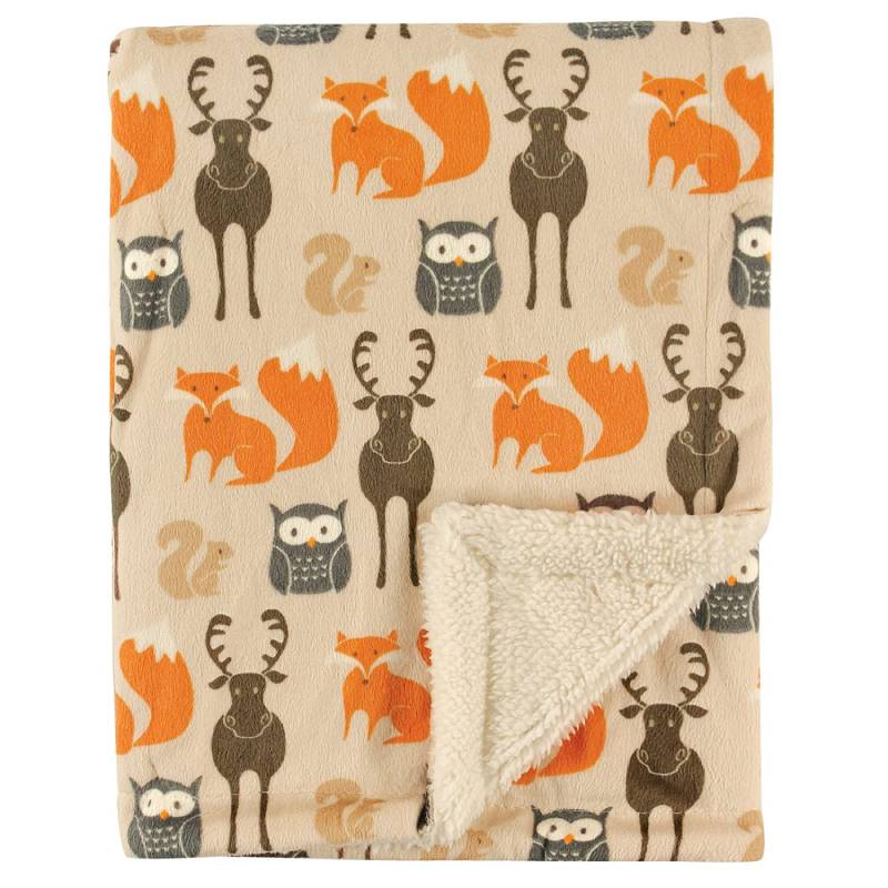 Hudson Baby Printed Mink with Sherpa Backing, Woodland Creatures, One Size - Useful baby gift idea